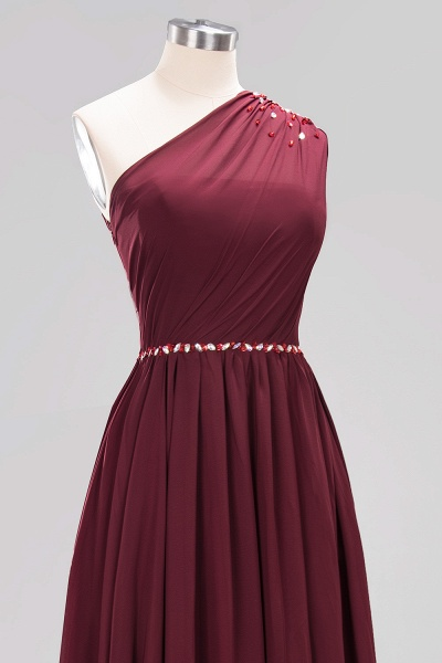 Elegant A-Line Burgundy Chiffon One-Shoulder Sleeveless Ruffles Floor-Length Bridesmaid Dresses with Beadings_45