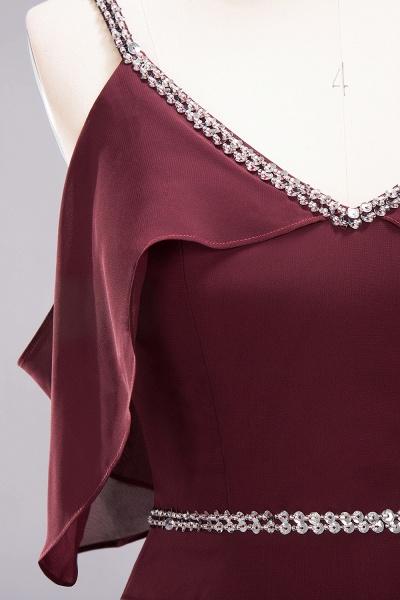 elegant A-line Chiffon V-Neck Spaghetti Straps Sleeveless Floor-Length Bridesmaid Dresses with Beading Sash_8