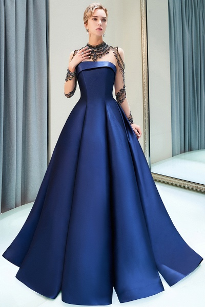 Beautiful Jewel Stretch Satin A-line Prom Dress_8