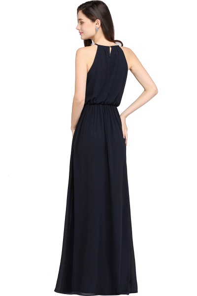 Simple A-Line Chiffon Halter Sleeveless Floor-Length Bridesmaid Dresses_2