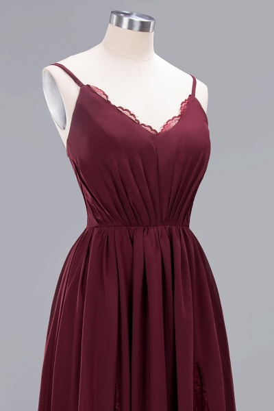 BM0213 A-Line Chiffon V-Neck Spaghetti Straps Long Bridesmaid Dress_17
