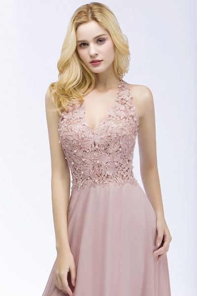 A-line Chiffon Appliques V-neck Sleeveless Floor-Length Bridesmaid Dresses with Pearls_5
