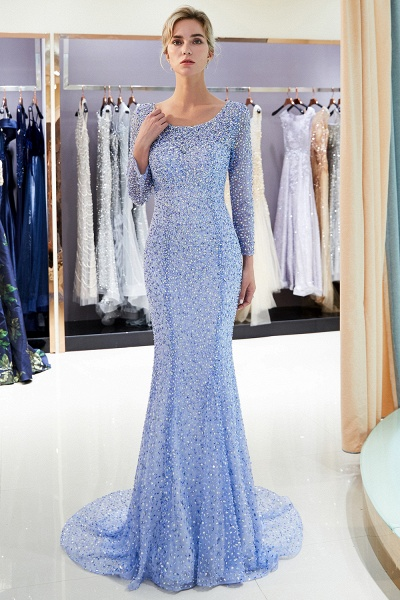 Long Sleeve Mermaid Floor Length Sequins Formal Party Dresses_6