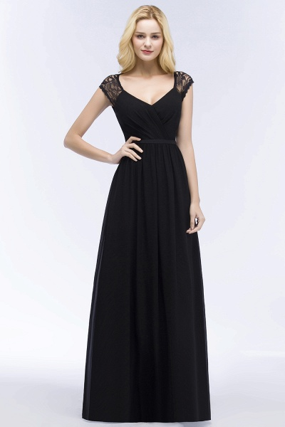 Elegant Mermaid Lace V-Neck Sleeveless Floor-Length Bridesmaid Dresses with Sash_1