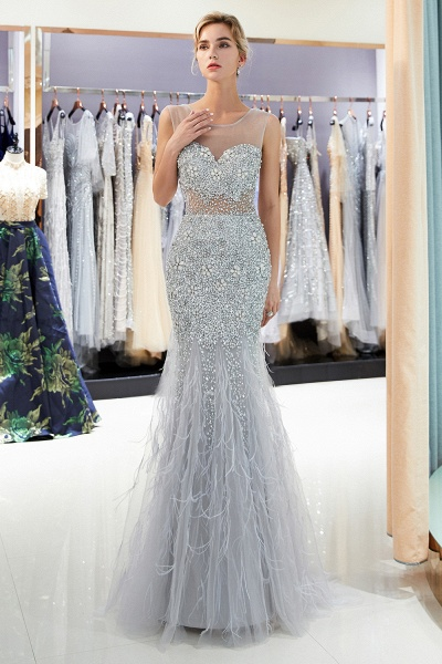 Sleeveless Mermaid Illusion Neckline Crystal Sqeuined Tulle Evening Dresses_4