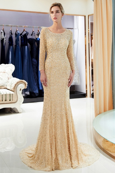 Long Sleeve Mermaid Floor Length Sequins Formal Party Dresses_2
