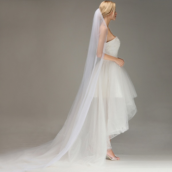 One Layer Cathedral Tulle Wedding Veil with Comb_3