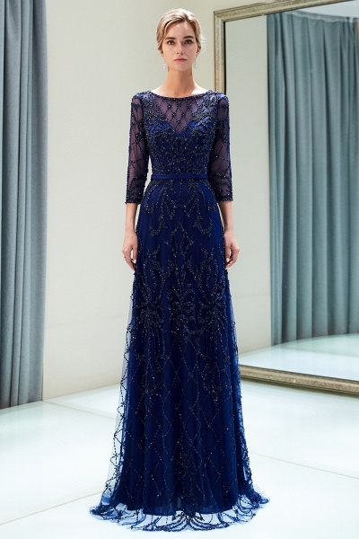 A-line Illusion Neckline Beading Evening Gowns with Sleeves_14