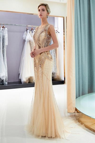 Sleeveless Mermaid Golden Sequins Beading Formal Prom Dresses_4