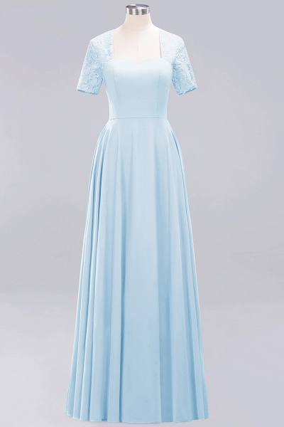 A-Line Chiffon Square Short Sleeves Bridesmaid Dress with Ruffle_15