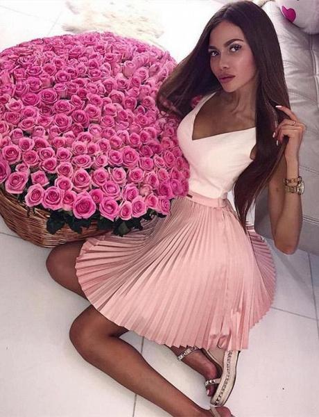 Stylish A-Line V-Neck Sleeveless Straps Short Prom Dress_5