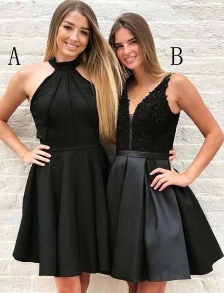 Fashion Halter V-Neck A-Line Appliques Mini Prom Dress_1