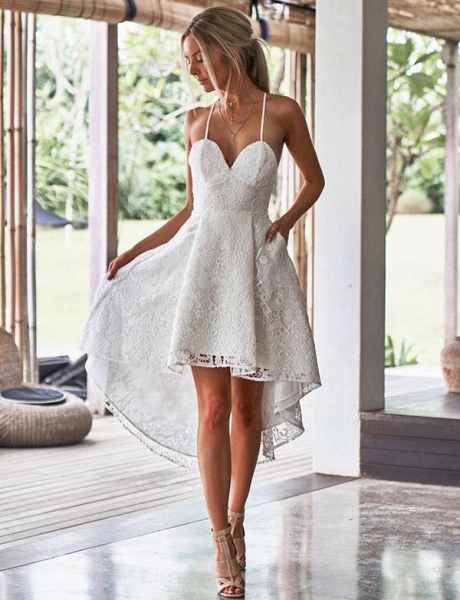 Elegant A-Line Spaghetti Straps Appliques Lace High Low Prom Dress_1