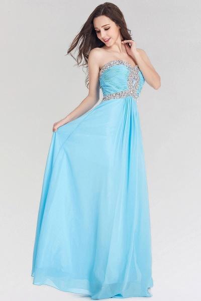 A-line Chiffon Sweetheart Sleeveless Ruffles Floor-Length Bridesmaid Dress with Beadings_2