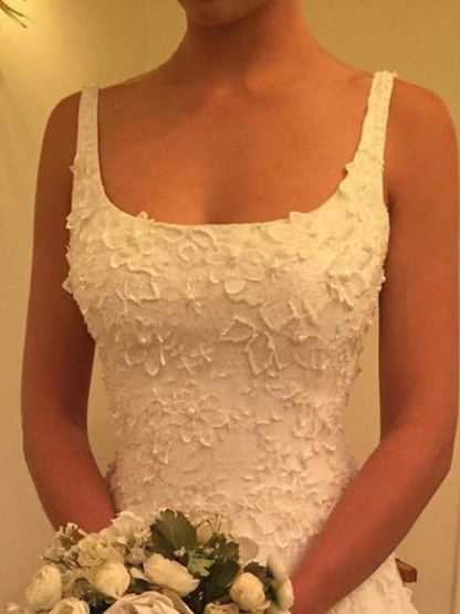 Modest Spaghetti Straps Appliques A-line Prom Dress_3