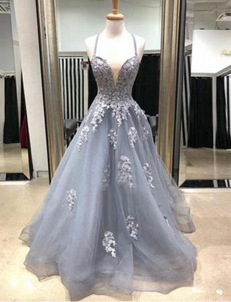 Amazing Spaghetti Straps Appliques A-line Prom Dress_1