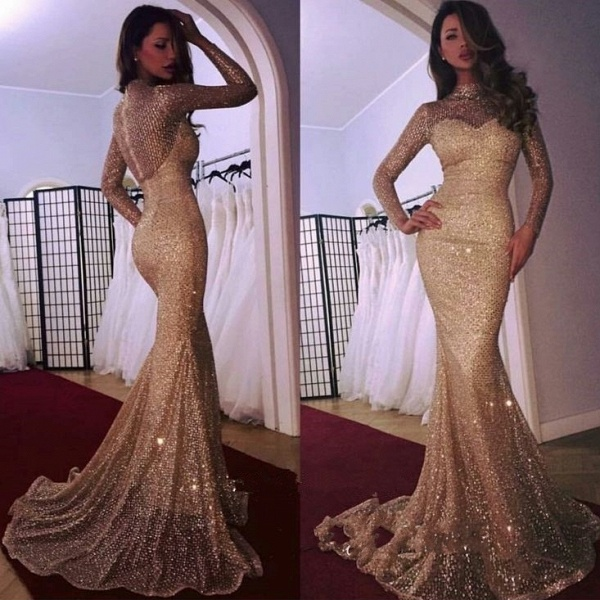 Modest High Neck Sequined Mermaid Evening Dress_3