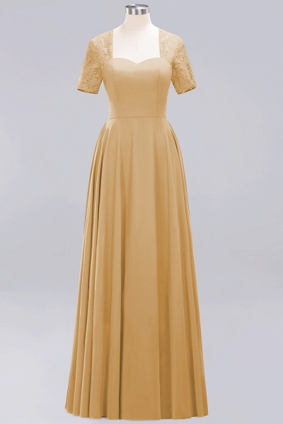 A-Line Chiffon Square Short Sleeves Bridesmaid Dress with Ruffle_9
