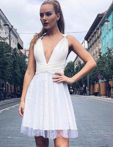 Charming A-Line Beading V-Neck Tulle Sleeveless Mini Prom Dress_4