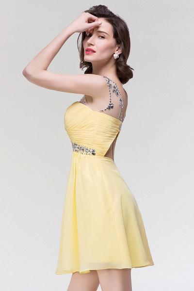 A-Line Chiffon Sweetheart Sleeveless Ruffles Mini Bridesmaid Dress with Beading_4