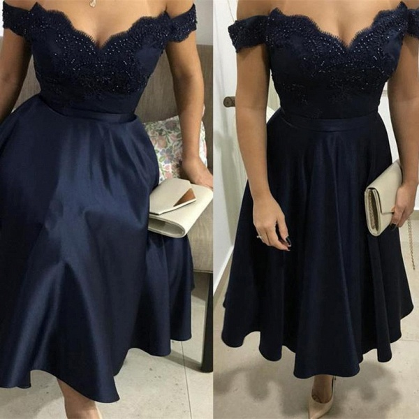 Elegant Beading A-Line Appliques Off-the-Shoulder Tea-Length Homecoming Dress_2