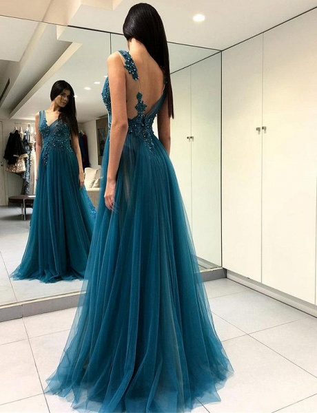 Chic V-neck Tulle A-line Prom Dress_1