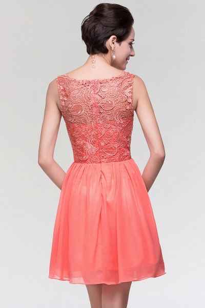A-Line Chiffon Lace Scoop Sleeveless Ruffles Mini Bridesmaid Dress_2