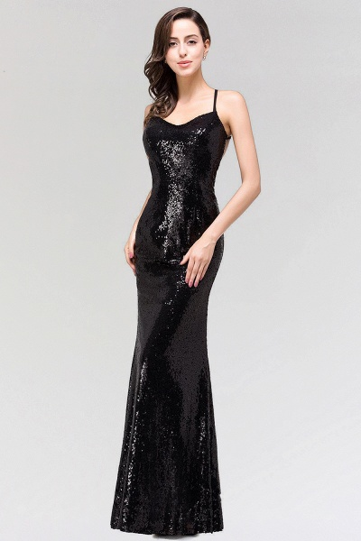 BM0293 Elegant Mermaid Sequined Long Black Bridesmaid Dress with Spaghetti Straps