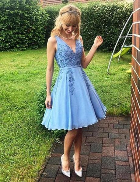 Modern Sleeveless A-Line Appliques V-Neck Short Prom Dress_1