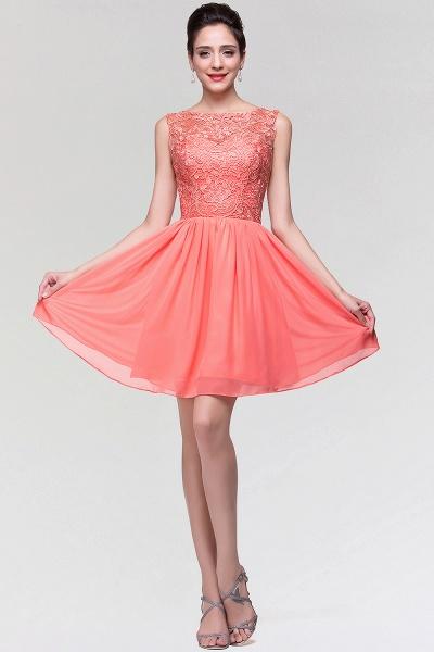 A-Line Chiffon Lace Scoop Sleeveless Ruffles Mini Bridesmaid Dress_4
