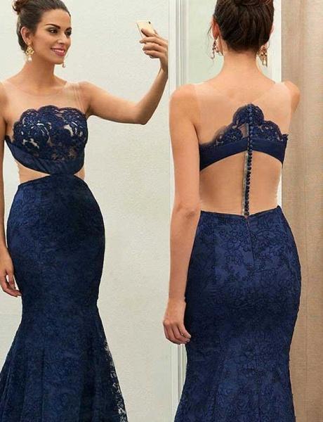 Sexy Jewel Sweep Train Sleeveless Lace Mermaid Prom Dress_3