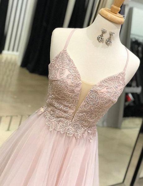 Elegant Floor-Length A-Line Appliques Spaghetti Straps Tulle Prom Dress_3