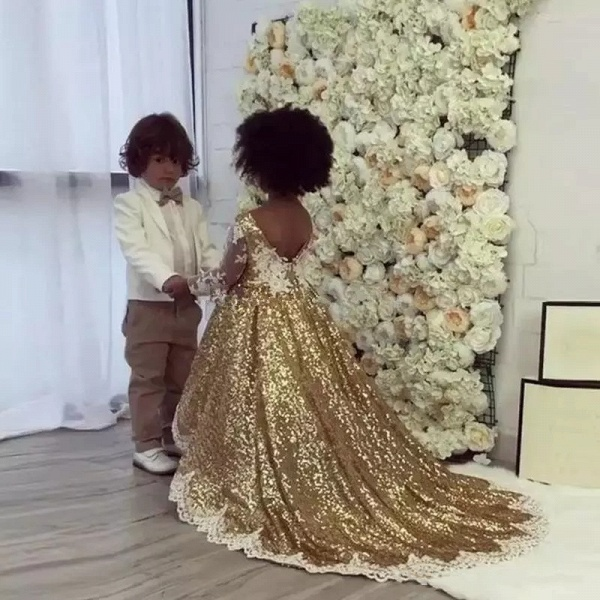 Gold Sequins Girl Applique Round Neck Court Train Pageant Dress_1