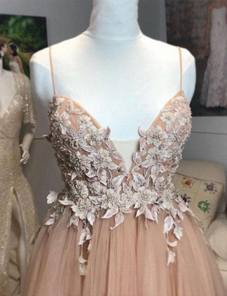 Fashion Tulle Champagne Spaghetti Straps A-Line Applique Prom Dress_3