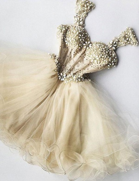 Stunning Straps A-Line Beading Tulle Short Prom Homecoming Dress_1