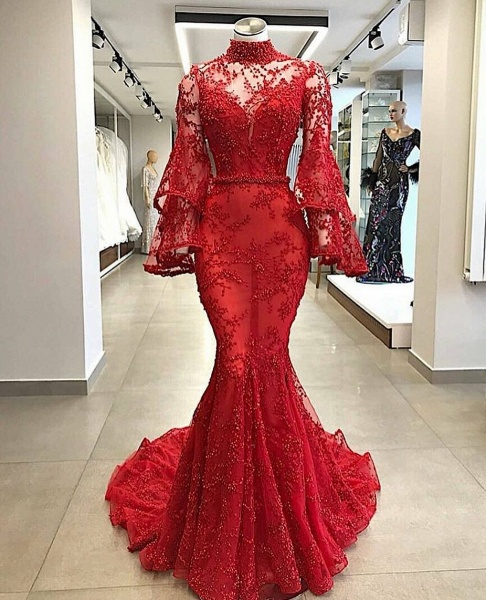 Excellent High Neck Beading Mermaid Prom Dress_1