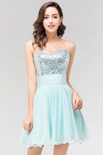 A-line Chiffon Strapless Sweetheart Sleeveless Ruffles Mini Bridesmaid Dress with Beadings_4