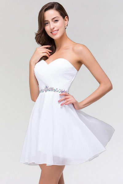 A-line Chiffon Sweetheart Sleeveless Ruffles Mini Bridesmaid Dress with Beadings_5