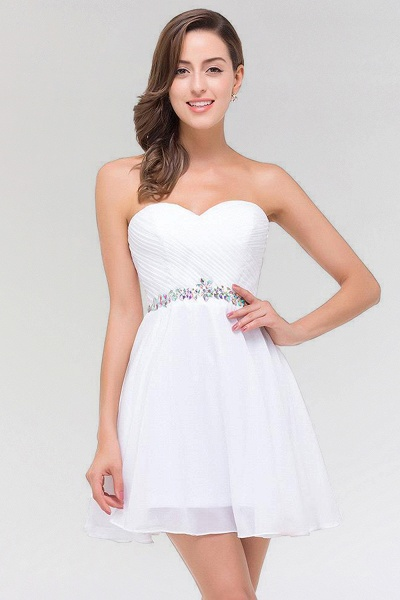 A-line Chiffon Sweetheart Sleeveless Ruffles Mini Bridesmaid Dress with Beadings_1