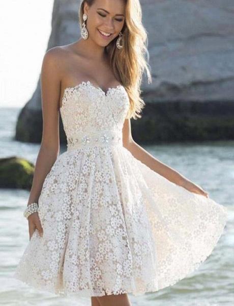 Fabulous Sweetheart Lace A-line Homecoming Dress_1