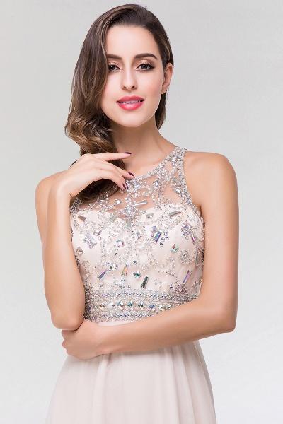 Elegant A-Line Chiffon Tulle Scoop Sleeveless Floor-Length Bridesmaid Dress with Beadings_5