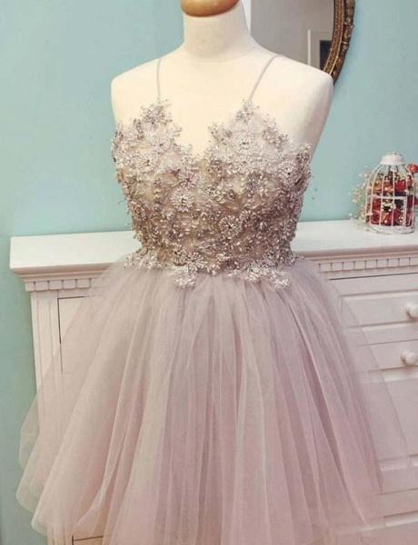 Stunning Spaghetti Straps Tulle A-Line Appliques Mini Prom Dress_1