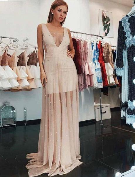 Graceful V-neck Tulle A-line Prom Dress_1