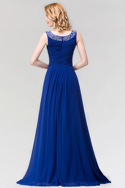 A-line Chiffon Jewel Sleeveless Ruffles Floor-Length Bridesmaid Dress with Beadings_2