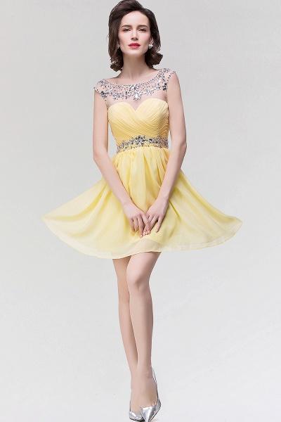 A-Line Chiffon Sweetheart Sleeveless Ruffles Mini Bridesmaid Dress with Beading_3