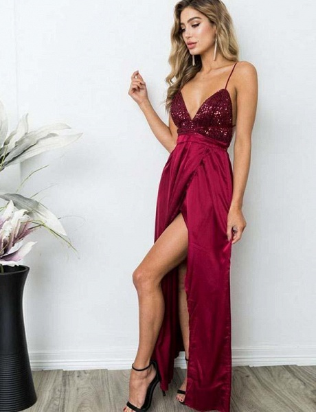 Excellent Spaghetti Straps Sequined A-line Prom Dress_6