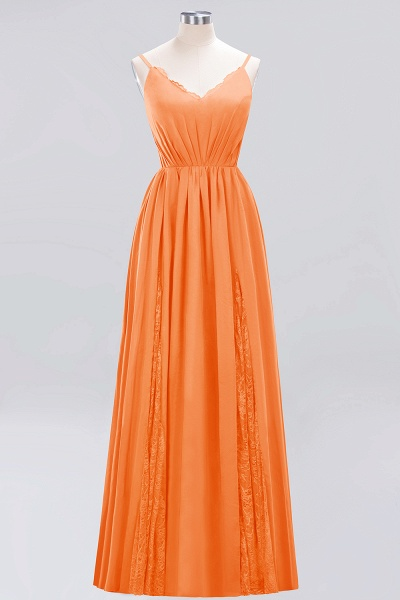 BM0213 A-Line Chiffon V-Neck Spaghetti Straps Long Bridesmaid Dress_3