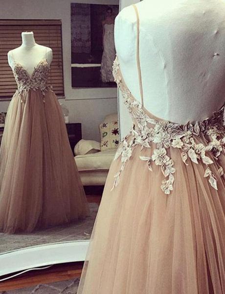 Fashion Tulle Champagne Spaghetti Straps A-Line Applique Prom Dress_1