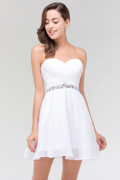 A-line Chiffon Sweetheart Sleeveless Ruffles Mini Bridesmaid Dress with Beadings_4
