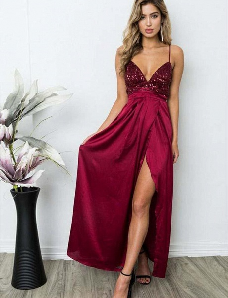 Excellent Spaghetti Straps Sequined A-line Prom Dress_4